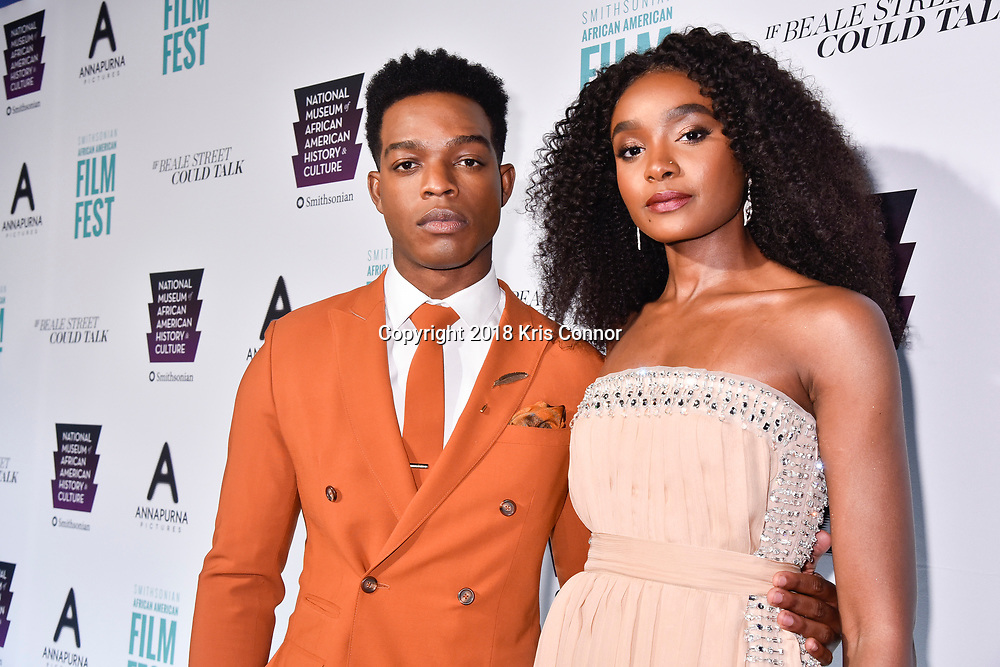 """WASHINGTON, DC - OCTOBER 27: Actors Stephan James, and KiKi Layne attend  the closing night screening of """"IF BEALE STREET COULD TALK"""" at the inaugural Smithsonian African American Film Festival 2018 at National Air and Space Museum in Washington DC on October 27th, 2018. (Photo by Kris Connor/Annapurna Pictures)"""