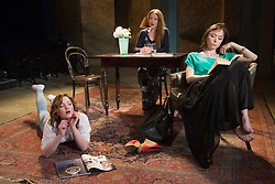 """© Licensed to London News Pictures. 07/04/2014. London, England. L-R: Holliday Grainger as Irina, Olivia Hallinan as Olga and Emily Taaffe as Masha. The play """"Three Sisters"""" by Anton Chekhov, in a new version by Anya Reiss, opens at the Southwark Playhouse, London, with Paul McGann as Vershinin, Olivia Hallinan as Olga, Emily Taaffe as Masha and Holliday Grainger as Irina. Directed by Russel Bolam. Photo credit: Bettina Strenske/LNP"""