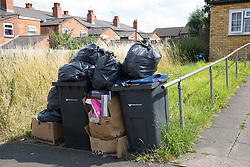 © Licensed to London News Pictures. 25/07/2017. Birmingham, UK. The strike by Birmingham bin men continues as piles of rubbish in certain areas goes uncollected.<br /> Pictured rubbish outside one family home in Kimberley Avenue, Alum Rock.  Photo credit: Dave Warren/LNP