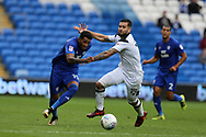 Nathaniel Mendez-Laing of Cardiff city (l) goes past Bradley Johnson of Derby county. EFL Skybet championship match, Cardiff city v Derby County at the Cardiff city stadium in Cardiff, South Wales on Saturday 30th September 2017.<br /> pic by Andrew Orchard, Andrew Orchard sports photography.