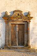 Old doorway in the medieval village of Marvão, Portalegre district, Alto Alentejo, Portugal, Southern Europe
