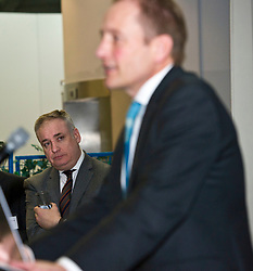Pictured: Science Minister Richard Lochhead listens to Scottish Science Advisory Council Chair Professor Paul Boyle<br /> <br /> Science Minister Richard Lochhead, Scottish Science Advisory Council Chair Professor Paul Boyle and Scotland's Chief Scientific Adviser Professor Sheila Rowan spoke at the official launch of a major new report on Scottish science.  The report examines the scientific landscape in Scotland between 2007 and 2016 and compared how the Scottish science and research sector has performed against other similar sized countries.  A number of scientific research projects from research institutions across Scotland will also exhibited at the event.<br /> <br /> <br /> Ger Harley | EEm 23 January 2019