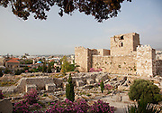 Remains of a crusaders castle, built in the 12th Century, in the small coastal town Byblos in Lebanon
