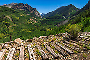 Old railroad ties on the Galloping Goose Trail, Uncompahgre National Forest, Colorado USA