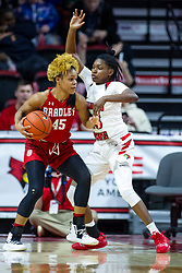 NORMAL, IL - February 07: Nyjah White works to get past Juliunn Redmond during a college women's basketball game between the ISU Redbirds and the Braves of Bradley University February 07 2020 at Redbird Arena in Normal, IL. (Photo by Alan Look)
