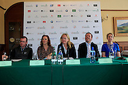 Barry Funston Rory Foundation, Sinead El Sibai Dubai Duty Free, Antonia Beggs European Tour, James Finnegan European Tour and Kathryn Thomson Tourism Northern Ireland at the announcement of platers Kaymer, Donald and Reed to play the Dubai Duty Free Irish Open at Royal Co Down Golf Club, Newcastle, Co Down, Northern Ireland.<br /> Picture: Fran Caffrey / Golffile
