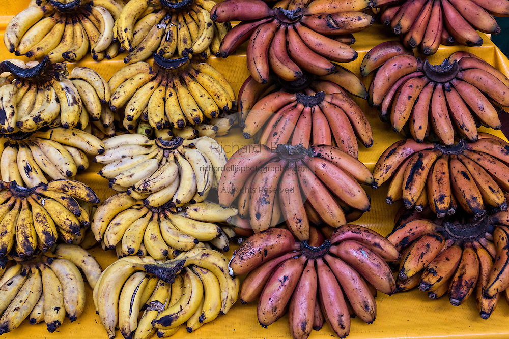 Bananas and tropical fruit at Benito Juarez market in Oaxaca, Mexico.