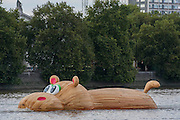 'HippopoThames' passes the Tate Britain - a 21-metre-long hippo sculpture, by Dutch artist Florentijn Hofman (best known for his Rubber Duck installation) is towed upriver to Nine Elms on the South Bank. It is his first UK commission Stepped access to the foreshore, near St George's Tower,  will be available for three hours a day at low tide throughout September.