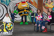 NO FEE PICTURES<br /> 26/3/16 Children nationwide will soon have the opportunity to meet their favourite Irish authors in a new and unique setting. Announced today, the partnership between children's publisher Little Island Books and BUMBLEance, The Children's National Ambulance Service will see children's authors visiting schools, festivals and libraries on board BUMBLEance to read from their work and to meet with children across primary and secondary schools nationwide. <br /> Kate Halon aged 4 and Zara Hanlon age 2 sisters from Artane Dublin 5<br /> Megan Barrett age 6 from Croom Co.Limerick <br /> Ben Kelly aged 8 & Zach Kelly age 5 from Rathfarnham <br /> Authors Christine Hamill, Siobhan Parkinson   Pictures: Arthur Carron