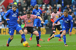 Lynden Gooch of Sunderland competes with Callum Paterson of Cardiff City - Mandatory by-line: Nizaam Jones/JMP- 13/01/2018 -  FOOTBALL - Cardiff City Stadium - Cardiff, Wales -  Cardiff City v Sunderland - Sky Bet Championship