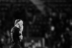September 11, 2018 - Elche, Alicante, Spain - (EDITORS NOTE: the image has been converted to black and white) Domagoj Vida of Croatia reacts during the UEFA Nations League A group four match between Spain and Croatia at Manuel Martinez Valero on September 11, 2018 in Elche, Spain  (Credit Image: © David Aliaga/NurPhoto/ZUMA Press)