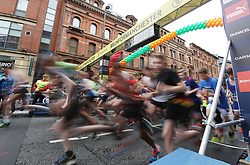 Boys at the start of the Junior half marathon as thousands of defiant runners and spectators turn out for the Great Manchester Run, following the terror attack at the Manchester Arena in the city earlier this week.