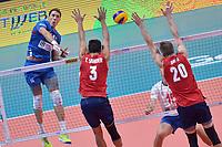 Aleksandar Atanasijevic of Serbia, Taylor Sander and David Smith of USA.<br /> Torino 30-09-2018 Pala Alpitour <br /> FIVB Volleyball Men's World Championship <br /> Pallavolo Campionati del Mondo Uomini <br /> Finals / 3th place<br /> Serbia - USA  <br /> Foto Antonietta Baldassarre / Insidefoto