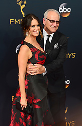 September 18, 2016 - Los Angeles, CA, USA - Bradley Whitford and Amy Landecker arrive at the 68th Annual Emmy Awards at the Microsoft Theater in Los Angeles, California on Sunday, September 18, 2016. (Credit Image: © Michael Owen Baker/Los Angeles Daily News via ZUMA Wire)