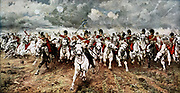 Scotland for Ever'. The charge of the Scots Greys at Waterloo, 18 June 1815. After the painting by Lady Butler.