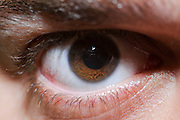 Close up of a man's brown eye