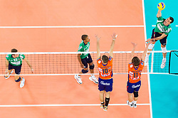 Wout Wijsmans of Cuneo during volleyball match between ACH Volley Ljubljana and Bre Banca Lannutti Cuneo (ITA) in Playoff 12 game of CEV Champions League 2012/13 on January 15, 2013 in Arena Stozice, Ljubljana, Slovenia. (Photo By Vid Ponikvar / Sportida.com)