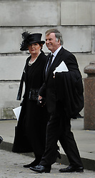 © Licensed to London News Pictures. 17 April 2013. St Paul's Cathedral London. Terry Wogan and his wife. Funeral of Baroness Thatcher, former Conservative Prime Minister. Photo credit : MarkHemsworth/LNP