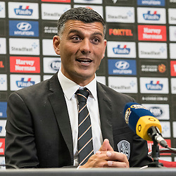 BRISBANE, AUSTRALIA - OCTOBER 30: Brisbane Roar coach John Aloisi speaks with the media after the round 4 Hyundai A-League match between the Brisbane Roar and Perth Glory at Suncorp Stadium on October 30, 2016 in Brisbane, Australia. (Photo by Patrick Kearney/Brisbane Roar)
