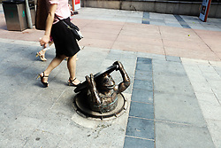 August 15, 2017 - Chongqin, Chongqin, China - Chongqing, CHINA-August 15 2017: (EDITORIAL USE ONLY. CHINA OUT)..Creative sculptures of Teenage Mutant Ninja Turtles can be seen on a street in southwest China's Chongqing, August 15th, 2017. (Credit Image: © SIPA Asia via ZUMA Wire)