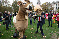 Stop Trump and Stop the US Trade Deal a protest in Parliament Square., Parliament Square, London, UK - 24 Oct 2020 Photo by brian Jordan