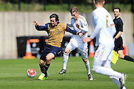 Thomas Rosicky of Arsenal  (l) in action for the Arsenal u21 team. Barclays U21Premier league match, Swansea city U21's v Arsenal U21's at the Landore training ground in Swansea, South Wales on Thursday 14th April 2016.<br /> pic by Andrew Orchard, Andrew Orchard sports photography.