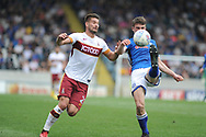 Bradford City forward, and new signing,  Kai Bruenker (21)  battles for possession during the EFL Sky Bet League 1 match between Rochdale and Bradford City at Spotland, Rochdale, England on 21 April 2018. Picture by Mark Pollitt.