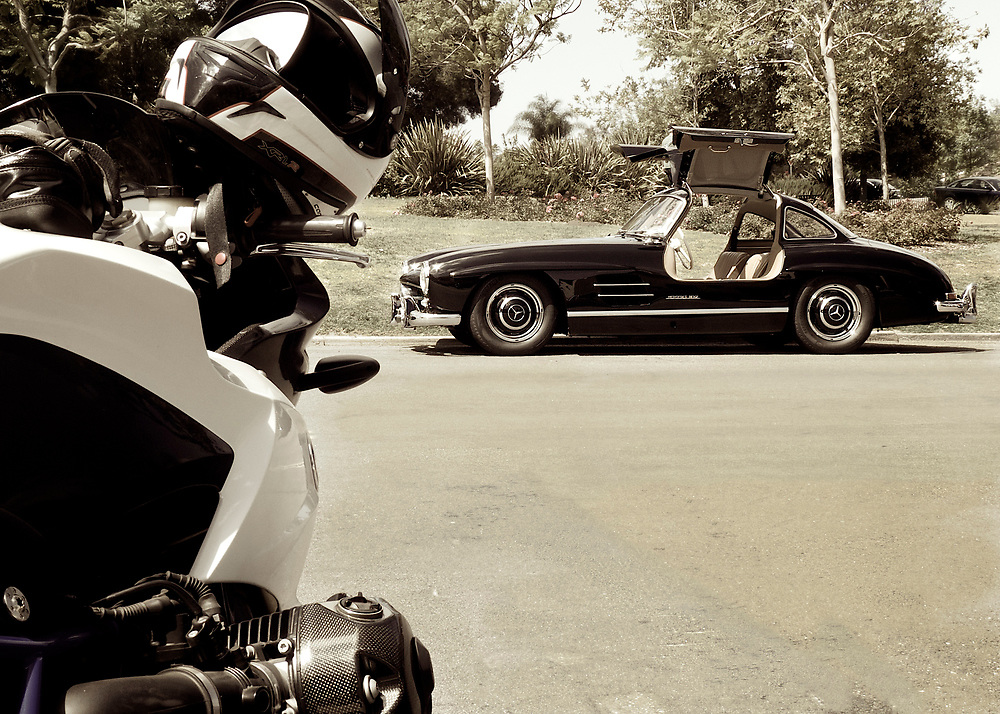 Two favorites - BMW's HP Sport motorcycle and the 300SL Gull Wing automobile from Mercedes Benz.
