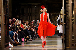 Models on the catwalk during the Pam Hogg Autumn/Winter 2017 London Fashion Week show at the Fashion Scout venue in Freemason's Hall, London. Picture date: Saturday February 19th, 2017. Photo credit should read: Matt Crossick/ EMPICS Entertainment.