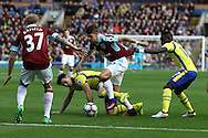 Johann Gudmundsson of Burnley tries to make a break but is held back by Idrissa Gueye of Everton. Premier League match, Burnley v Everton at Turf Moor in Burnley , Lancs on Saturday 22nd October 2016.<br /> pic by Chris Stading, Andrew Orchard sports photography.