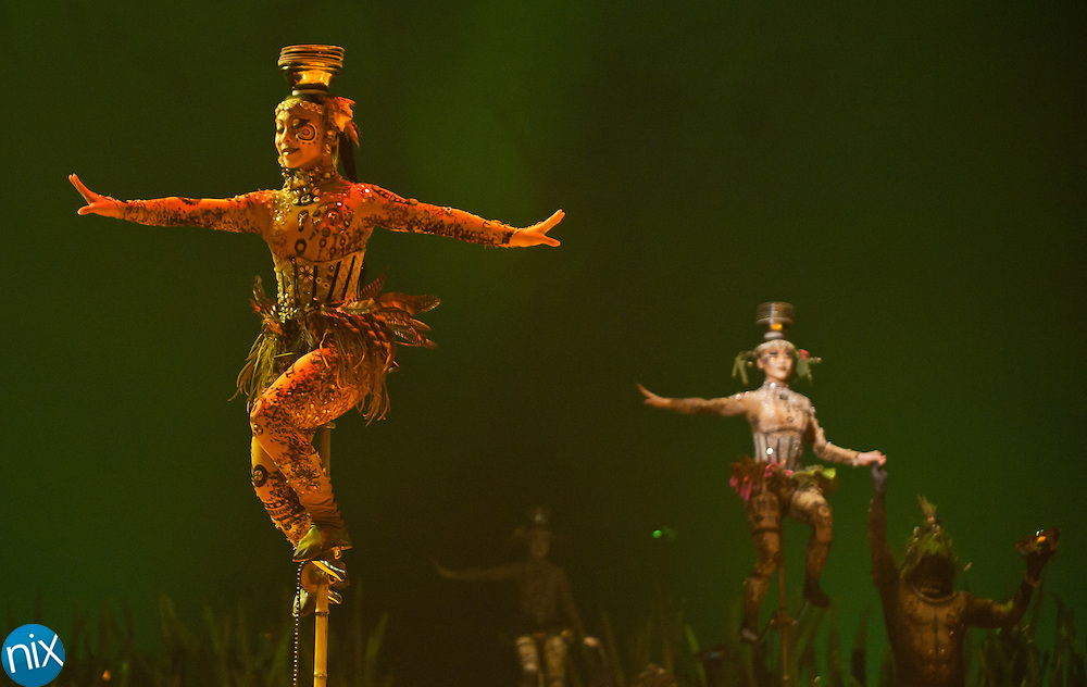 Characters from Cirque du Solei's Totem perform in Concord, NC. Totem will run through March 20 across the street from Charlotte Motor Speedway. (Photo by James Nix)