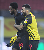 Football - 2020 / 2021 Sky Bet Championship - Watford vs Preston North End - Vicarage Road<br /> <br /> Troy Deeney of Watford grabs hold of Nathaniel Chalobah after the match<br /> <br /> COLORSPORT/ANDREW COWIE