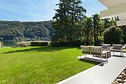 modern house outdoors, beautiful veranda in the garden