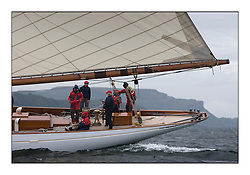 The afterguard on Altair 1931 Schooner as they pass the Cumbraes...The final day's racing on the King's Course North of Cumbrae...* The Fife Yachts are one of the world's most prestigious group of Classic .yachts and this will be the third private regatta following the success of the 98, .and 03 events.  .A pilgrimage to their birthplace of these historic yachts, the 'Stradivarius' of .sail, from Scotland's pre-eminent yacht designer and builder, William Fife III, .on the Clyde 20th -27th June.   . ..More information is available on the website: www.fiferegatta.com . .Press office contact: 01475 689100         Lynda Melvin or Paul Jeffes