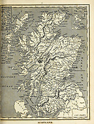 19th century map of Scotland Copperplate engraving From the Encyclopaedia Londinensis or, Universal dictionary of arts, sciences, and literature; Volume XXII;  Edited by Wilkes, John. Published in London in 1827