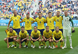SAINT PETERSBURG, July 3, 2018  Players of Sweden pose for a group photo prior to the 2018 FIFA World Cup round of 16 match between Switzerland and Sweden in Saint Petersburg, Russia, July 3, 2018. (Credit Image: © Cao Can/Xinhua via ZUMA Wire)