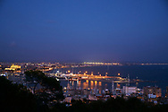 Panoramic night view of city of Palma from Bellver Castle in Palma, Mallorca, Balearic Islands