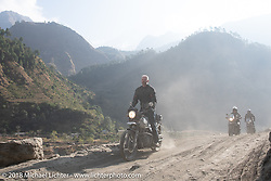 Denver Joe Hicks on Day-7 of our Himalayan Heroes adventure riding from Tatopani to Pokhara, Nepal. Monday, November 12, 2018. Photography ©2018 Michael Lichter.