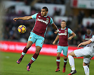 Dimitri Payet of West Ham in action. Premier league match, Swansea city v West Ham United at the Liberty Stadium in Swansea, South Wales on Boxing Day, Monday 26th December 2016.<br /> pic by  Andrew Orchard, Andrew Orchard sports photography.