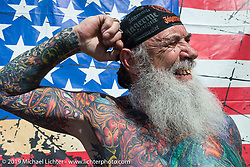 """Noah Johnson (""""Poncho Man"""") of Maryland took top Tattoo Honors at the annual Rats Hole Show during Daytona Bike Week. FL, USA. March 15, 2014.  Photography ©2014 Michael Lichter."""