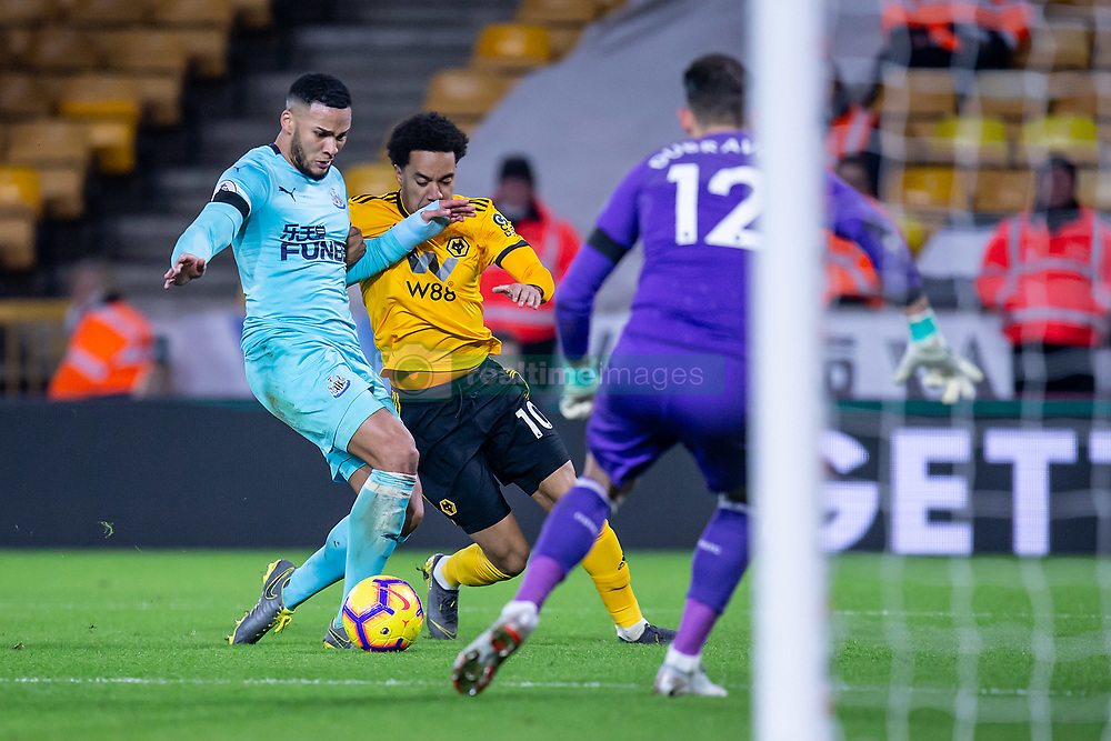 February 11, 2019 - Wolverhampton, England, United Kingdom - Helder Costa of Wolverhampton Wanderers battling for the ball with Jamaal Lascelles of Newcastle United during the Premier League match between Wolverhampton Wanderers and Newcastle United at Molineux, Wolverhampton on Monday 11th February 2019. (Credit Image: © Mi News/NurPhoto via ZUMA Press)
