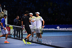 November 15, 2017 - London, England, United Kingdom - Lukasz Kubot of Poland and Marcelo Melo of Brazil shake hands with Mike and Bob Bryan of the USA following victory in their doubles match on day four of the Nitto ATP World Tour Finals at O2 Arena on November 15, 2017  (Credit Image: © Alberto Pezzali/NurPhoto via ZUMA Press)