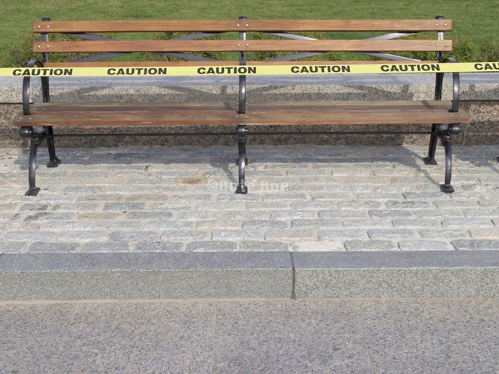 A new bench just painted in a public park NYC.