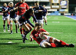 Siwan Lillicrap of Wales Women scores<br /> <br /> Photographer Simon King/Replay Images<br /> <br /> Friendly - Wales Women v Hong Kong Women - Friday  16th November 2018 - Cardiff Arms Park - Cardiff<br /> <br /> World Copyright © Replay Images . All rights reserved. info@replayimages.co.uk - http://replayimages.co.uk