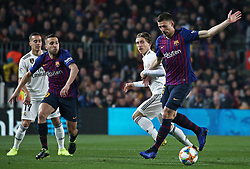 February 6, 2019 - Barcelona, Spain - Clement Lenglet, Luca Modric andJordi Alba during the match between FC Barcelona and Real Madrid corresponding to the first leg of the 1/2 final of the spanish cup, played at the Camp Nou Stadium, on 06th February 2019, in Barcelona, Spain. (Credit Image: © Joan Valls/NurPhoto via ZUMA Press)