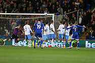 Peter Whittingham (7) of Cardiff city scores his teams 1st goal from a free-kick. EFL Skybet championship match, Cardiff city v Sheffield Wednesday at the Cardiff city stadium in Cardiff, South Wales on Wednesday 19th October 2016.<br /> pic by Andrew Orchard, Andrew Orchard sports photography.