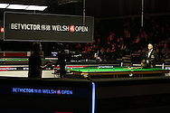 Judd Trump (r) in action during his match against Rory McLeod.  Betvictor Welsh Open snooker 2016, day 2 at the Motorpoint Arena in Cardiff, South Wales on Tuesday 16th Feb 2016.  <br /> pic by Andrew Orchard, Andrew Orchard sports photography.