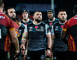 Ospreys players watch the big screen waiting for the TMO<br /> <br /> Photographer Simon King/Replay Images<br /> <br /> Guinness PRO14 Round 6 - Ospreys v Southern Kings - Saturday 9th November 2019 - Liberty Stadium - Swansea<br /> <br /> World Copyright © Replay Images . All rights reserved. info@replayimages.co.uk - http://replayimages.co.uk
