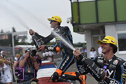 August 5, 2018 - Brno, Brno, Czech Republic - 10 Italian driver Luca Marini of Team SKY Racing Team VR46 and  42 Italian Driver Francesco Bagnaia of team SKY Racing Team VR46 during podium in Brno Circuit for Czech Republic Grand Prix in Brno Circuit on August 5, 2018 in Brno, Czech Republic. (Credit Image: © Andrea Diodato/NurPhoto via ZUMA Press)
