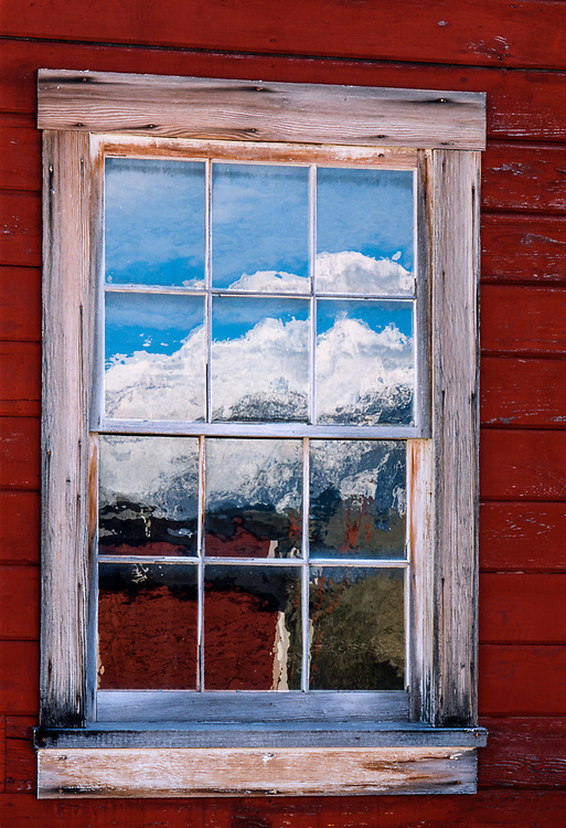 Window reflection, old Kenticot Mine, Wrangell-St-Elias National Park, Alaska, USA